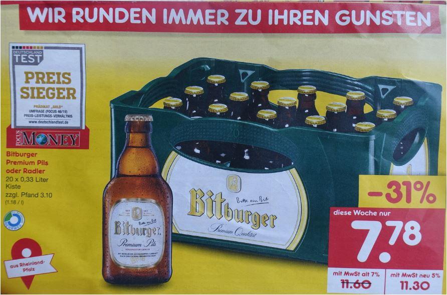 Bitburger Premium Pils oder Radler für 7,78 Euro [Netto MD]