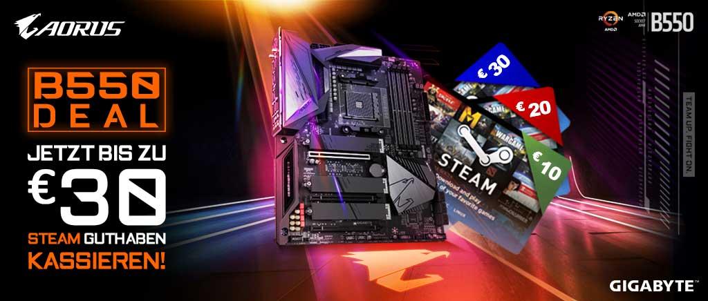 Gigabyte B550 Mainboards - bis zu 30€ Steam Guthaben als Cashback möglich!