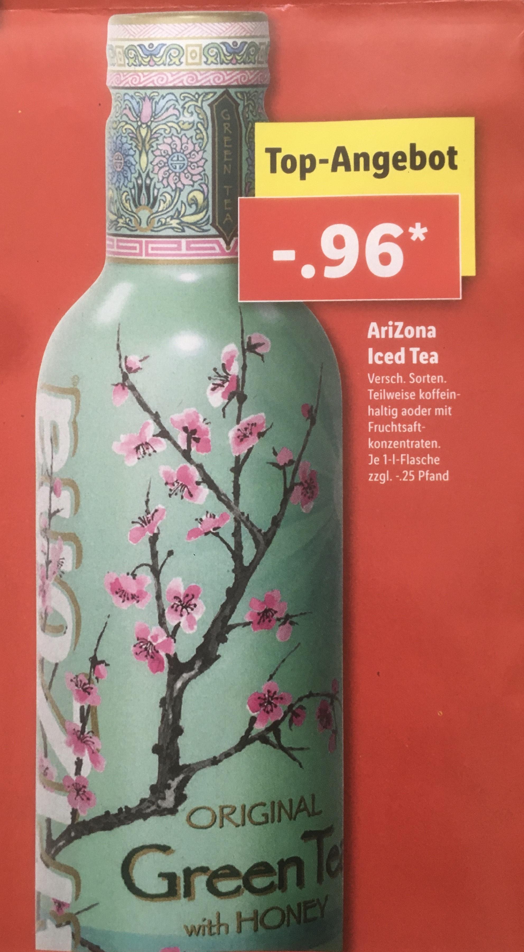 [Lidl] AriZona Iced Tea 1 Liter für 96 Cent