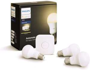 Philips Hue White Starter Kit (3x LED-Lampen E27 + Bridge)