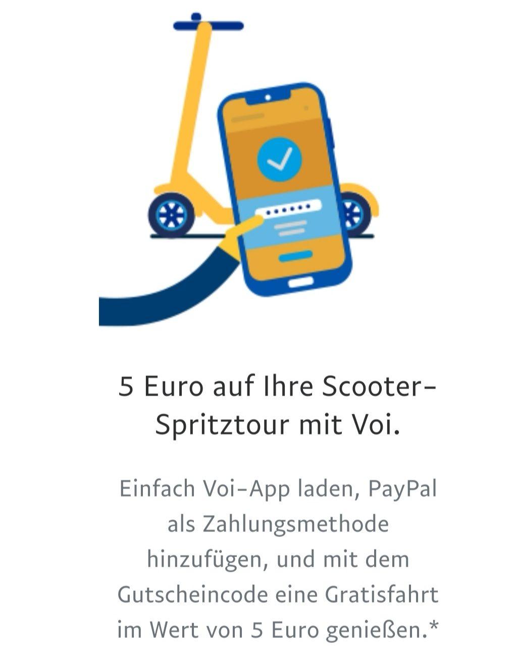 PayPal schenkt 5€ Guthaben für Voi [personalisiert]