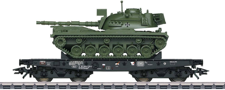 Märklin HO Schwerlast-Flachwagen Rlmmps 650 beladen mit einem Kampfpanzer M48 für 39€ (Müller Abholung)