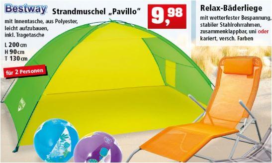 """Bestway Strandmuschel (Beach Tent) """"Pavillo"""", 200 x 130 x 90 cm mit Tragetasche für 9,98 Euro [Thomas Philipps - Filialpreis]"""
