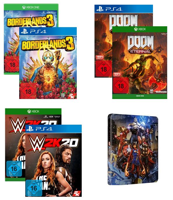 [PS4 / Xbox One | Abholung] Borderlands 3 - 14,61€ | Doom: Eternal - 29,23€ | Marvel's Avengers VV-Steelbook - 4,87€ | WWE 2K20 - 9,74€