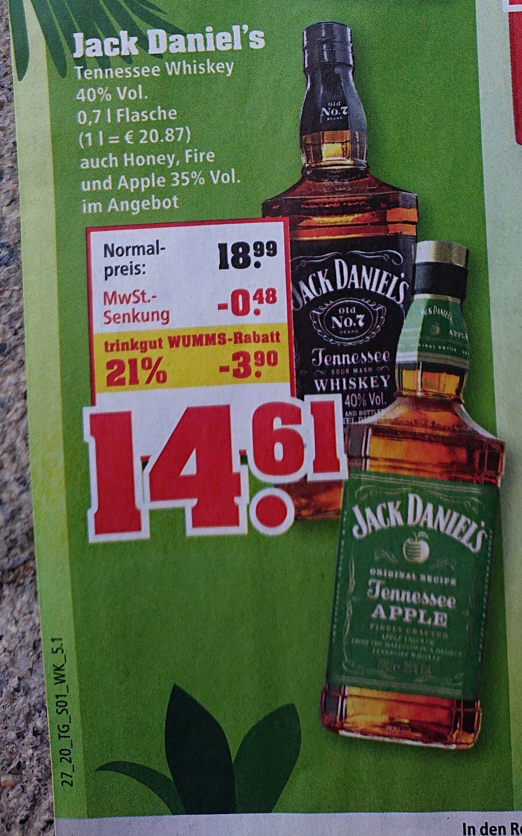 Jack Daniel's 14,61 € / Jägermeister 10,22 € (0,7 l) [Trinkgut] [29.06. - 04.07.2020]