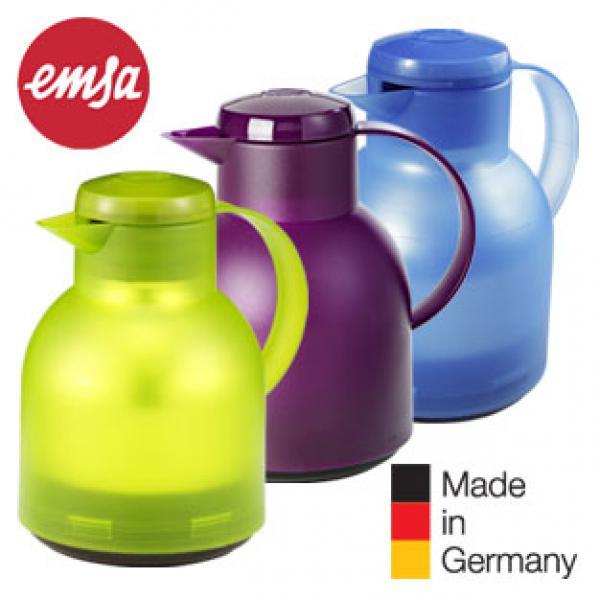 Emsa Samba Isolierkanne, 1 Liter, Quick Press Verschluss (12h heiß, 24h kalt) [KODI]