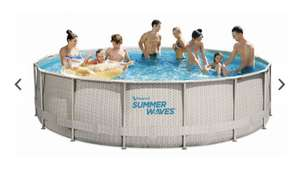 Summer Waves Rundpoolset Pool Rattan Natur Ø 457 x 107 cm