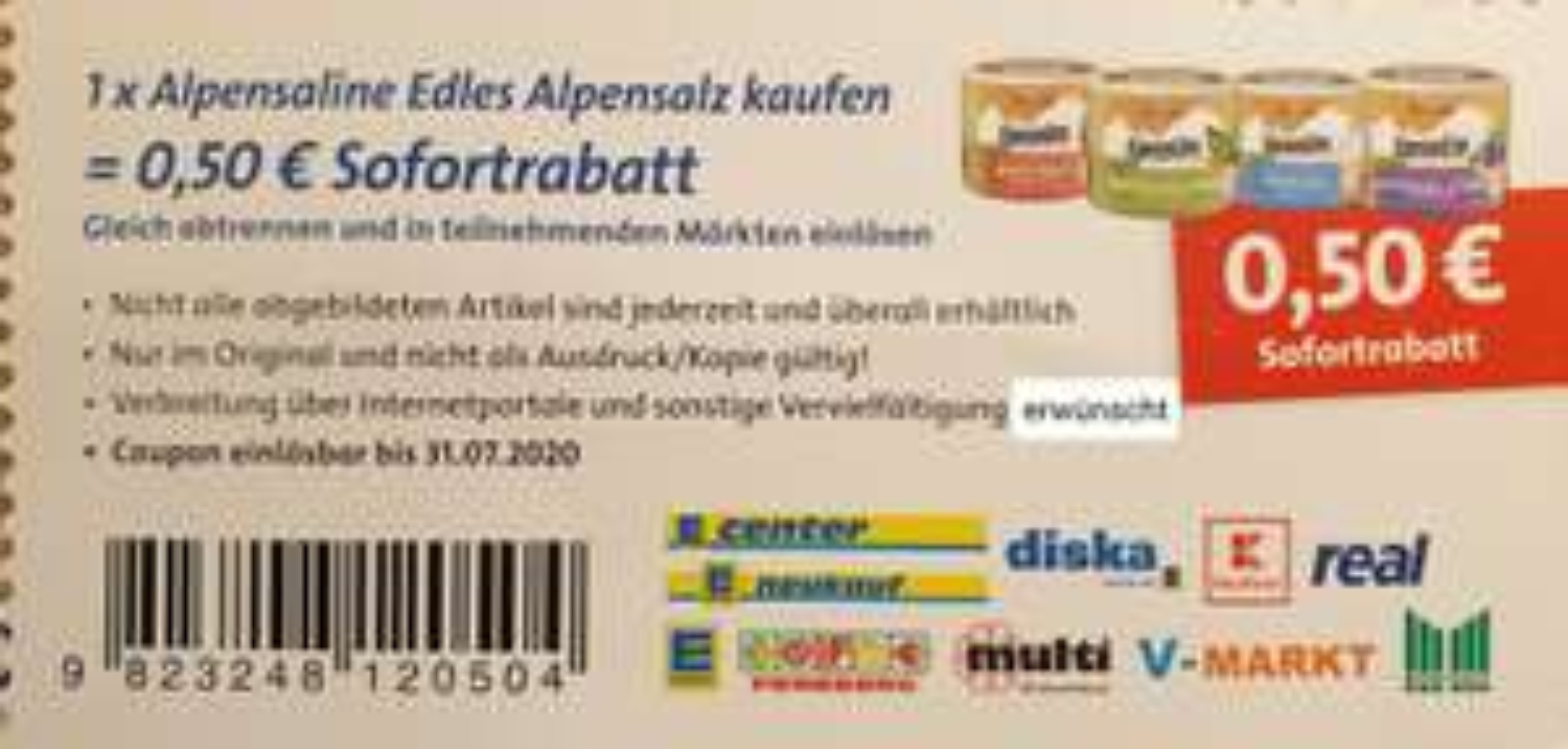 "[- 0,50 €] Coupon für ""Alpensaline Edles Alpensalz"" (u. a. Edeka, Kaufland, real)"