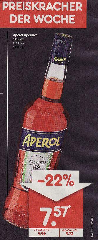 Aperol Aperitivo, 0,7l für 7,57 €, BW,SL, RP(teilw.) bei Netto Marken-Discount