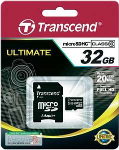 Transcend Extreme-Speed Micro SDHC mit Adapter, 32 GB, Class10, 20€ inkl. Versand