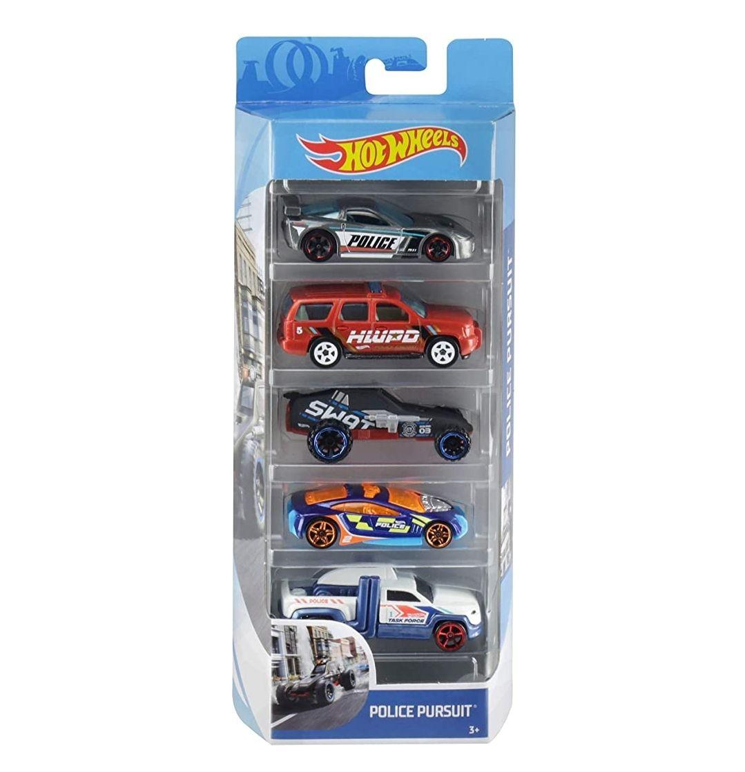 Hot Wheels 01806 5er Pack 1:64 Die-Cast Fahrzeuge Geschenkset, je 5 Spielzeugautos, zufällige Auswahl, ab 3 Jahren (Prime)