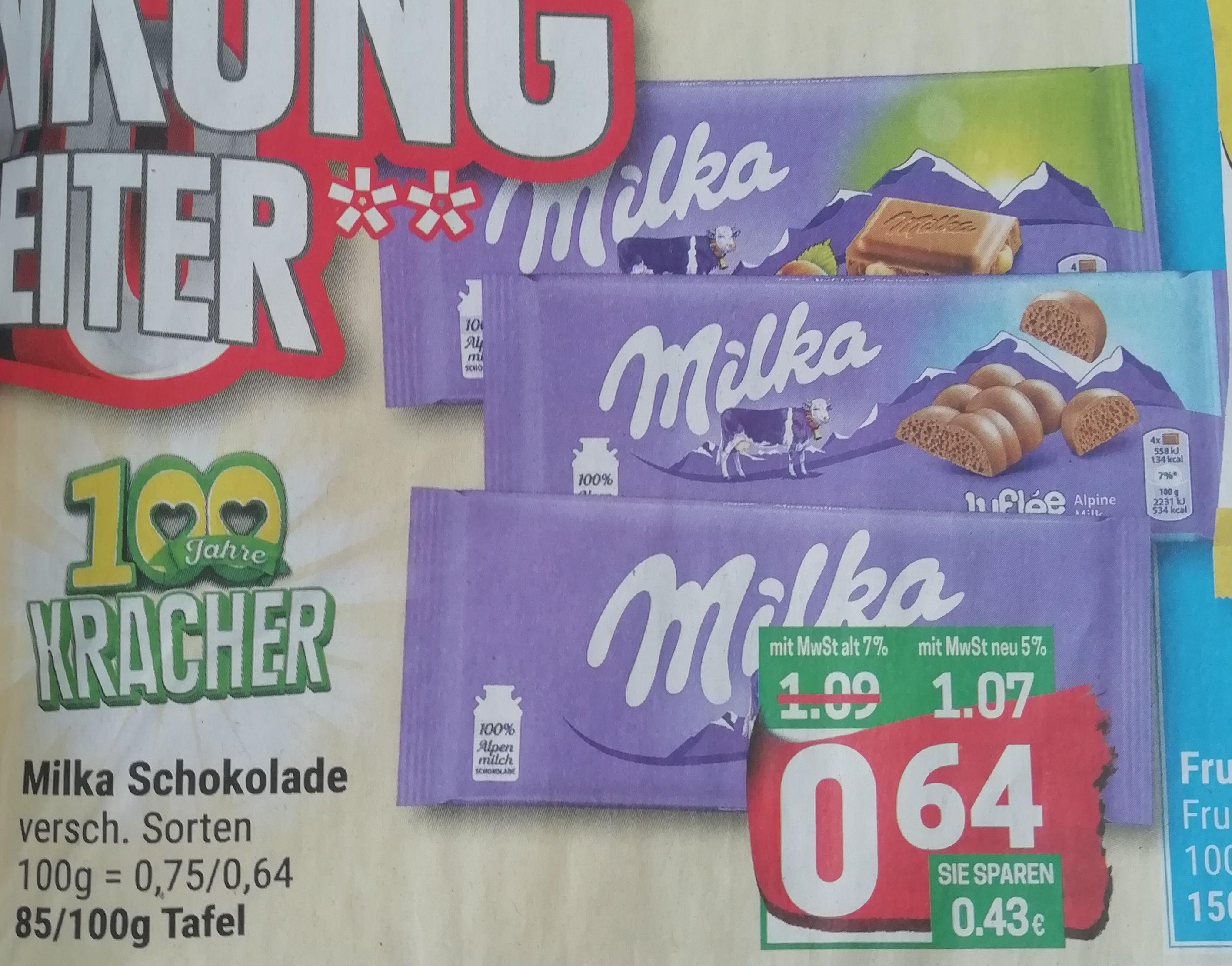 [Marktkauf Minden-Hannover] 8x Milka Schokolade versch. Sorten mit Coupon für 4,12€ [Stückpreis = 0,52€]