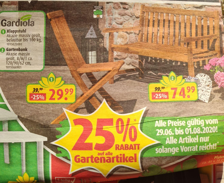 Gartenbank (120/90/63) für 74,99€ oder Klappstuhl (bis 100kg) für 29,99€ aus massiver Akazie & geölt bei ROLLER