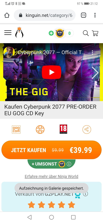 Cyberpunk 2077 für 39,99€ ( 100 keys)