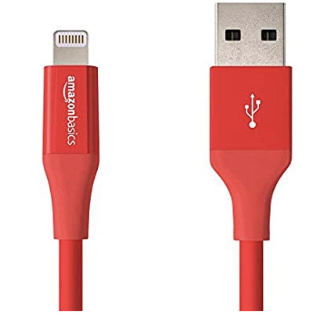 AmazonBasics Lightning auf USB A Kabel 1,8m , Rot, Apple MFi Zertifiziert Prime