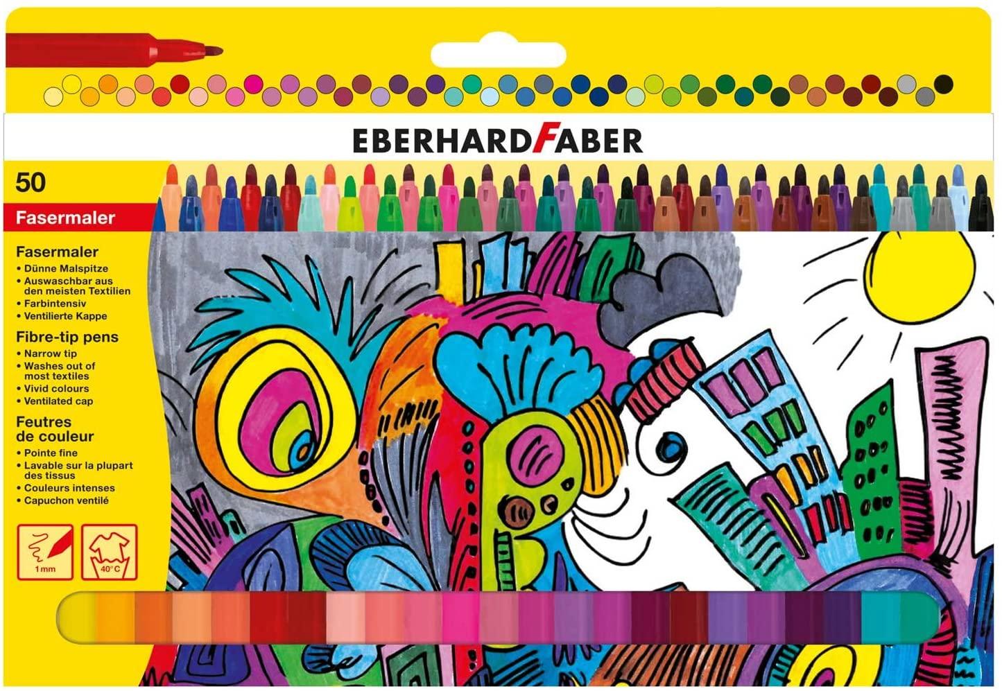 Eberhard Faber - Fasermaler mit dünner Spitze, 50er Kartonetui für 4,49€ (Müller Abholung)