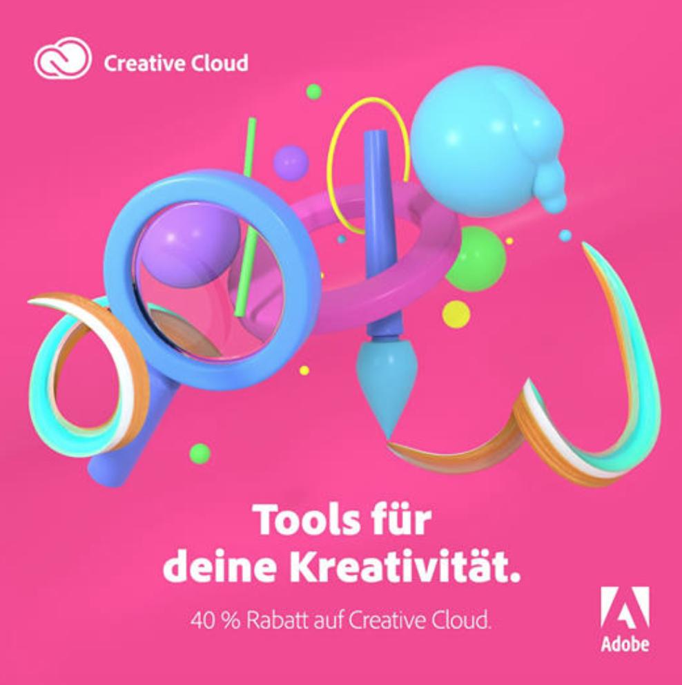 40% sparen auf das Adobe Creative Cloud Abo (direkt von Adobe) mit Photoshop, Illustrator, Premiere & Co.