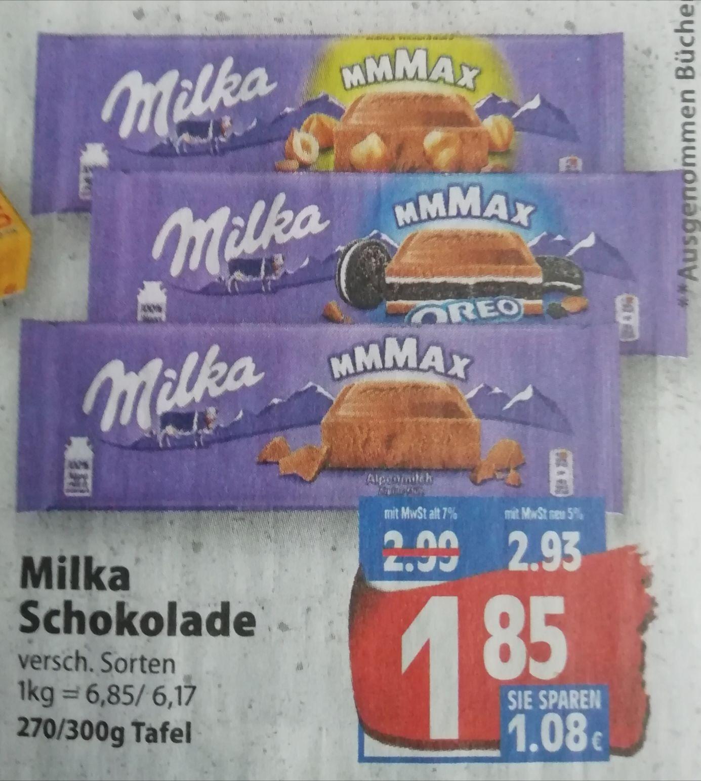 [Edeka Minden-Hannover] 3x Milka Schokolade 270g/300g mit Coupon für 4,55€