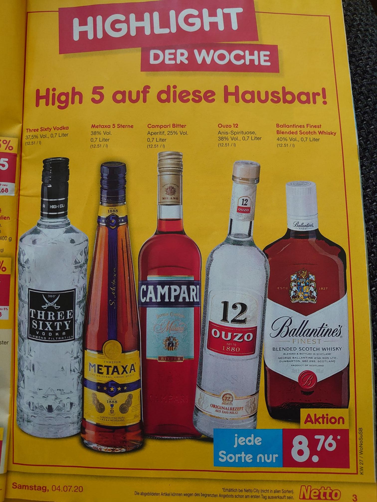 Three Sixty Vodka 0,7L für 8,76€ ab Montag, den 29.06.20 bei Netto