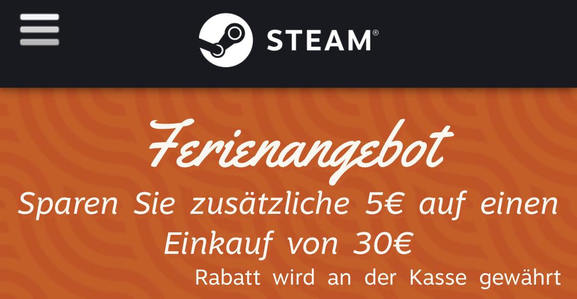 (PC) Steam 5€ Rabatt ab 30€ - z.B. DayZ Livonia Edition