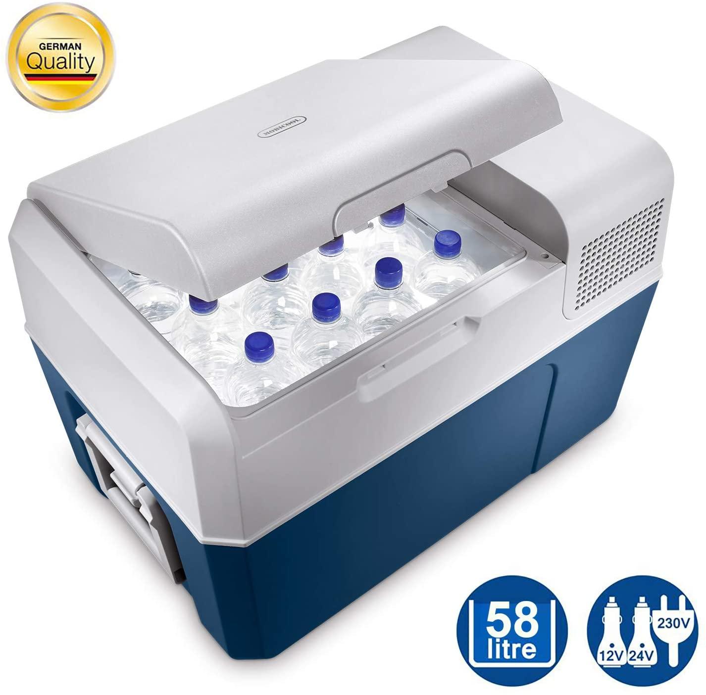 Mobicool MCF60, elektrische Kompressor-Kühlbox, 58 l, 12/24/230 V, Mini-Kühlschrank für Auto, Lkw, Boot + Steckdose, A+, Bestpreis