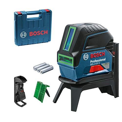 Bosch Professional Kreuzlinienlaser GCL 2-15 G (grüner Laser, Innenbereich, mit Lotpunkten, Arbeitsbereich: 15 m,)