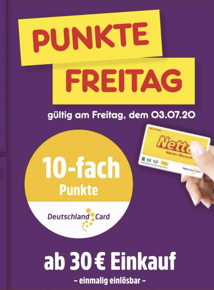 10-fach Punkte DeutschlandCard am 03.07. online und offline ab einem Einkauf von 30€ [Netto MD]