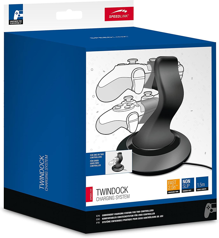 [B-Ware] Speedlink Twindock Charging System für zwei PS4-Controller (Direktverbindung per Micro-USB, Gummifüße, inkl. 1.5m Netzkabel)