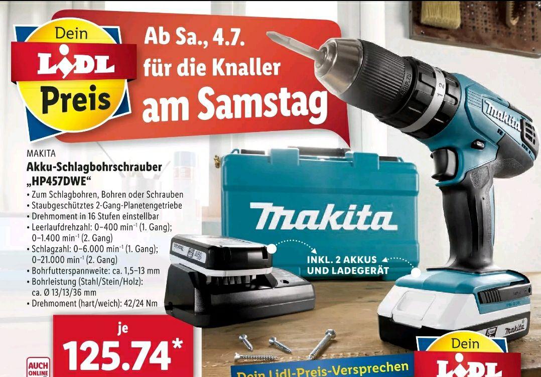 "[Lidl] Makita Akku-Schlagbohrschrauber ""HP457DWE"" (inkl. 2x Akku + Ladegerät)"