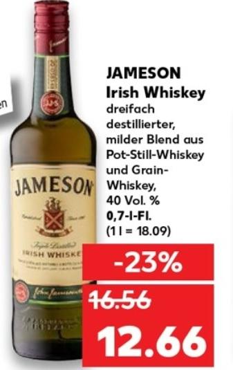 [Kaufland] Jameson Original Irish Whiskey 0,7L Flasche für 12,66€ ab 02.07