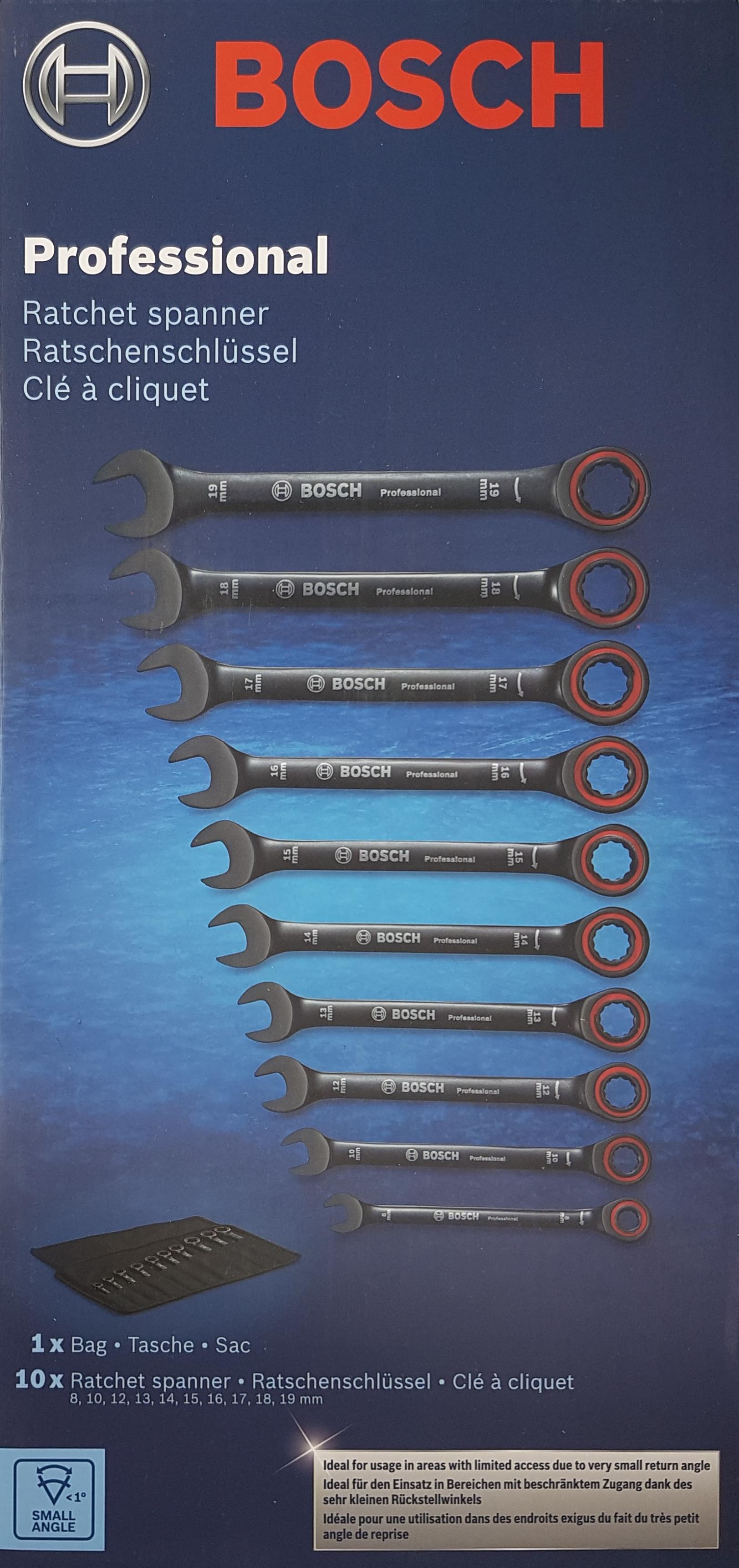 Bosch Professional 10 tlg. Ring Maulschlüssel Satz mit Ratschenfunktion