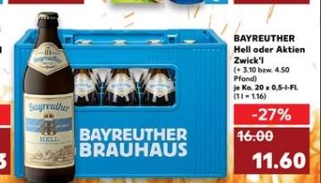 [Regional Kaufland Berlin/Brandenburg/Sachsen/Sachsen-Anhalt /Thüringen ab 09,07] Bayreuther Hell oder Aktien Zwick´l -20 x 0,5 L für 11,60€
