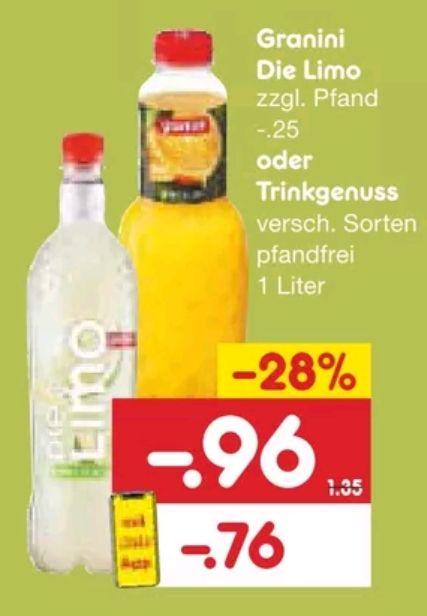 [Netto MD] Granini Die Limo oder Trinkgenuss mit App / -20% zusätzlich