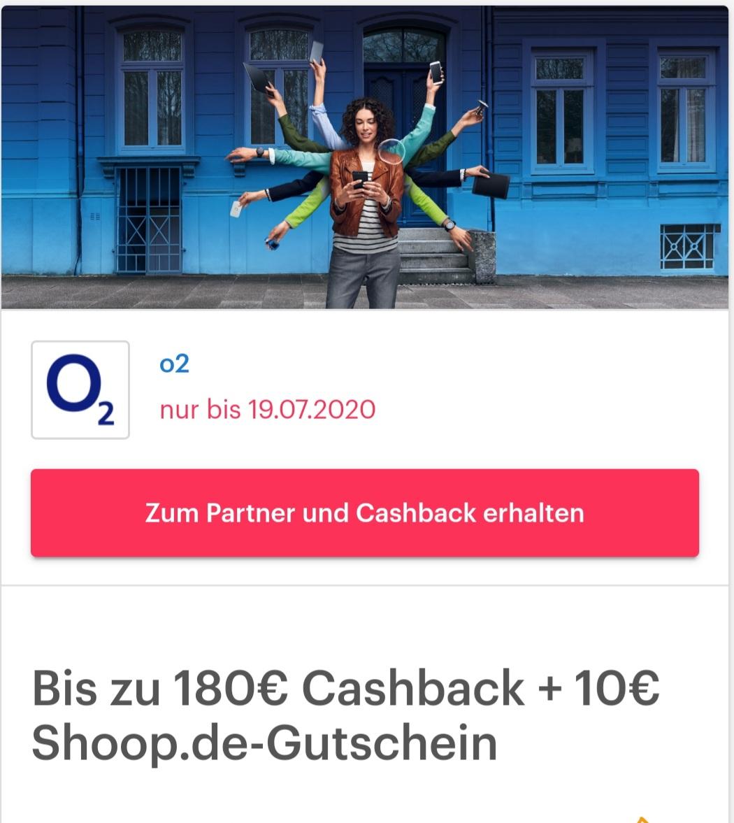 [Shoop] Bis zu 180€ Cashback + 10€ Shoop.de-Gutschein für Mobilfunk oder DSL bei O2