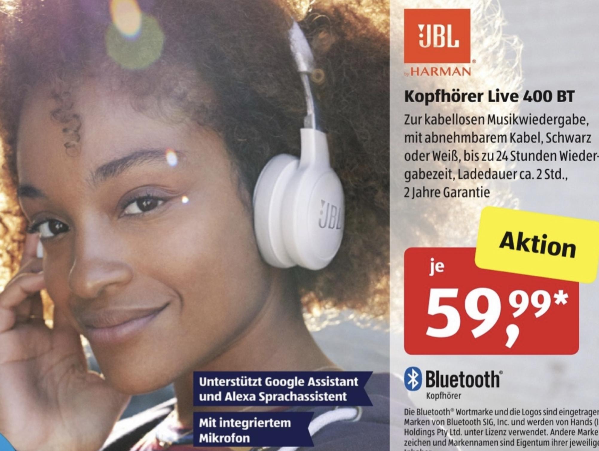 [Aldi Süd u. Nord] JBL Live 400BT kabellose On-Ear Bluetooth Kopfhörer mit Alexa Google Assistant Integration für 58,19€
