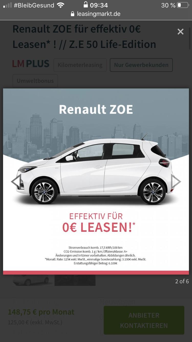 Gewerbeleasing Renault Zoe nach Erstattung der Umweltprämie für effektiv 0€