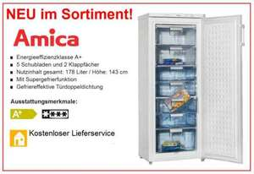 Gefrierschrank AMICA 178 Liter für nur 199,- Euro  Versandkostenfrei !!!!!