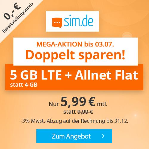 5GB LTE (50 Mbit/s) Tarif von sim.de für mtl. 5,99€ + Allnet- & SMS-Flat (monatlich kündbar / 24 Monate; Telefonica-Netz)