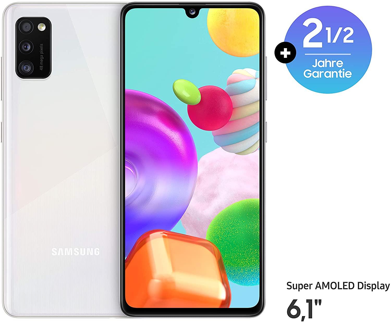 """Samsung Galaxy A41 Weiß (6,1"""" FHD+ AMOLED, 152g, 4/64GB, HelioP65, Klinke, NFC, 3500mAh, 183k AnTuTu)"""