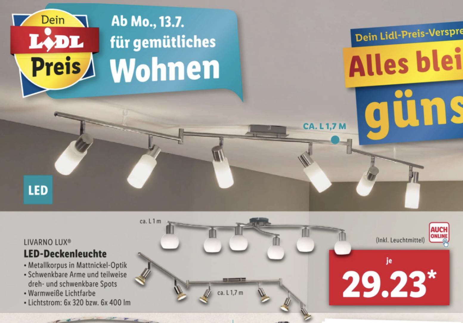 Lidl: LED Deckenleuchten rund oder eckig für je 7,79€ / Deckenleuchten Mehrflammig Länge bis zu 1,70m je 29,23€ usw.