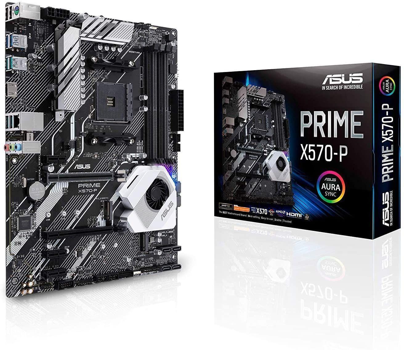 ASUS Prime X570-P Mainboard Sockel AM4 (Ryzen 3000 kompatibel, ATX-, PCIe 4.0, DDR4, USB 3.2, Aura Sync)