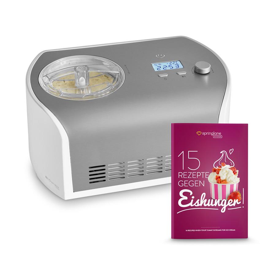 """30€ auf Eismaschinen bei Springlane: z.B. """"Elli"""" mit Kompressor für 139€ (135W, 1.2l, ~45min bis 1h Zubereitungszeit, Edelstahl, Rezeptheft)"""