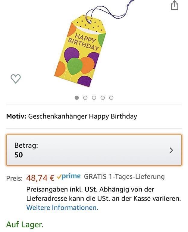 Amazon 50 Euro - Gutschein für 48,74 Euro