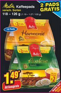 16+2 Melitta KaffeePads für 1,49€ bei Netto