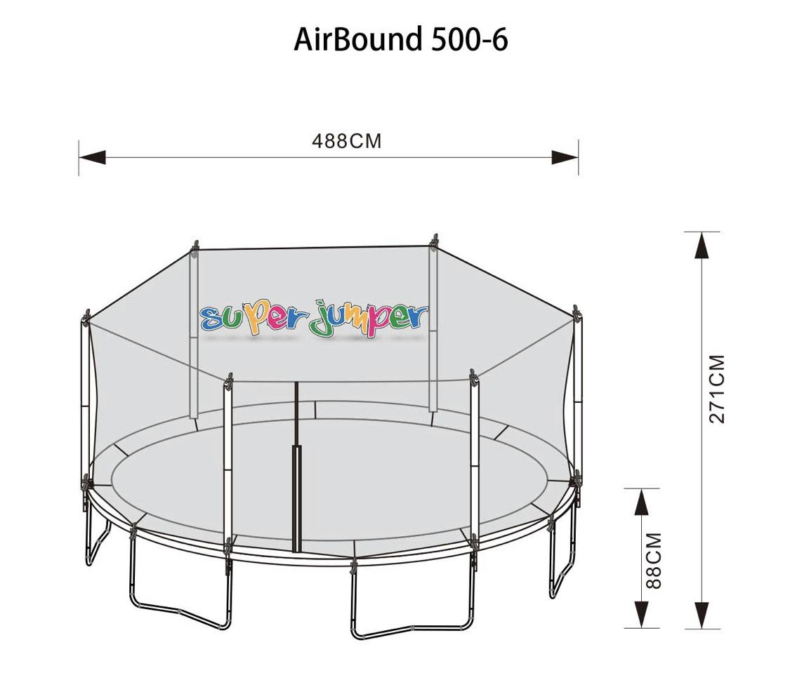 Real.de Super Jumper Trampolin Combo 500 cm   Gartentrampolin   Outdoor Trampolin   Sicherheitsnetz mit Stabilitätsring