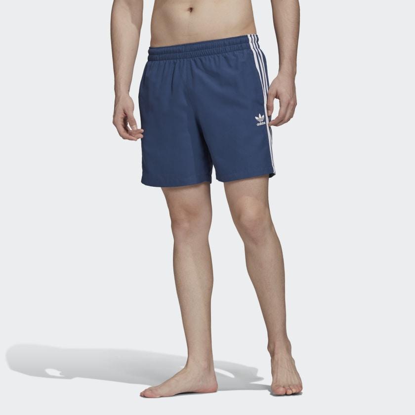 adidas Originals 3-Streifen Badeshorts in Blau oder Rot (mit Collectors Club)