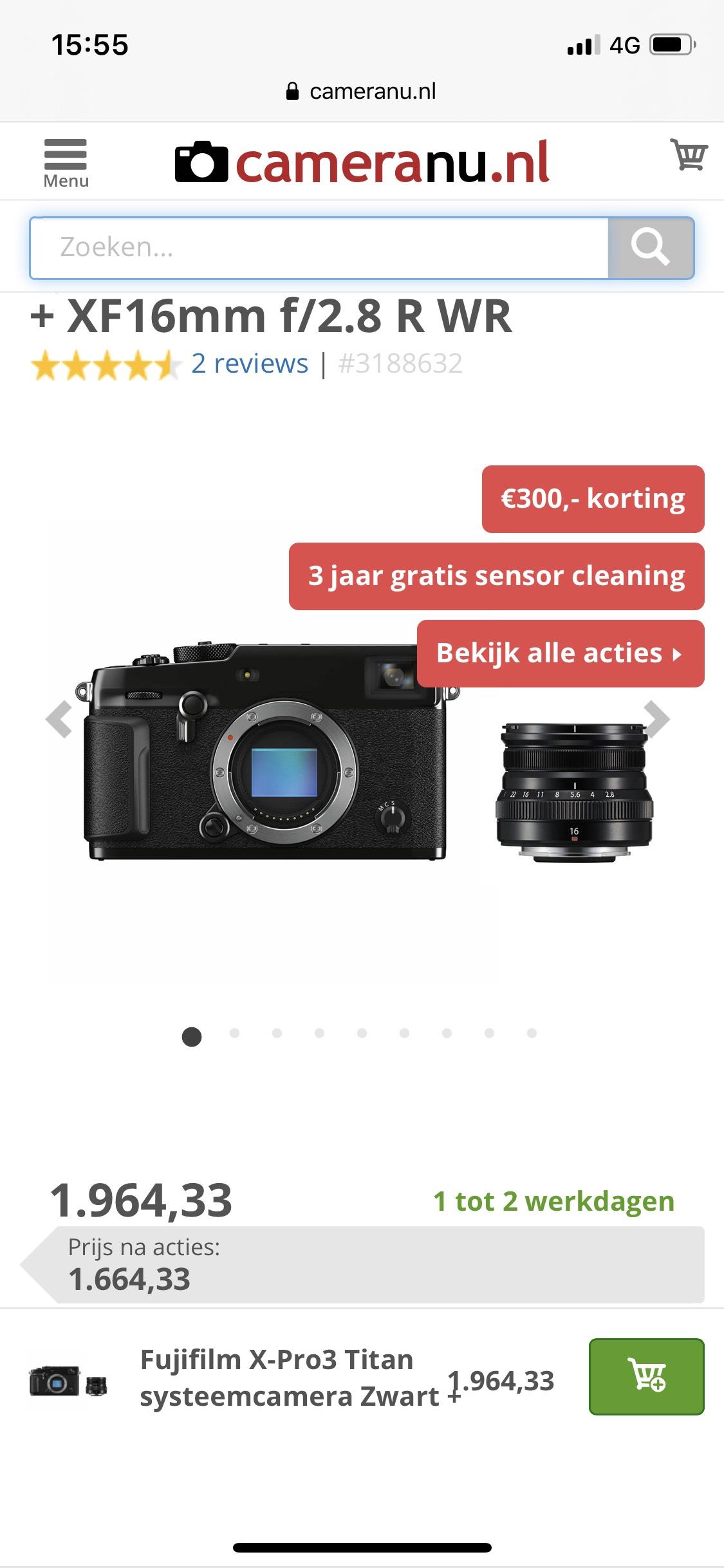 Fujifilm X-Pro3 schwarz inkl Objektiv XF16 2.8