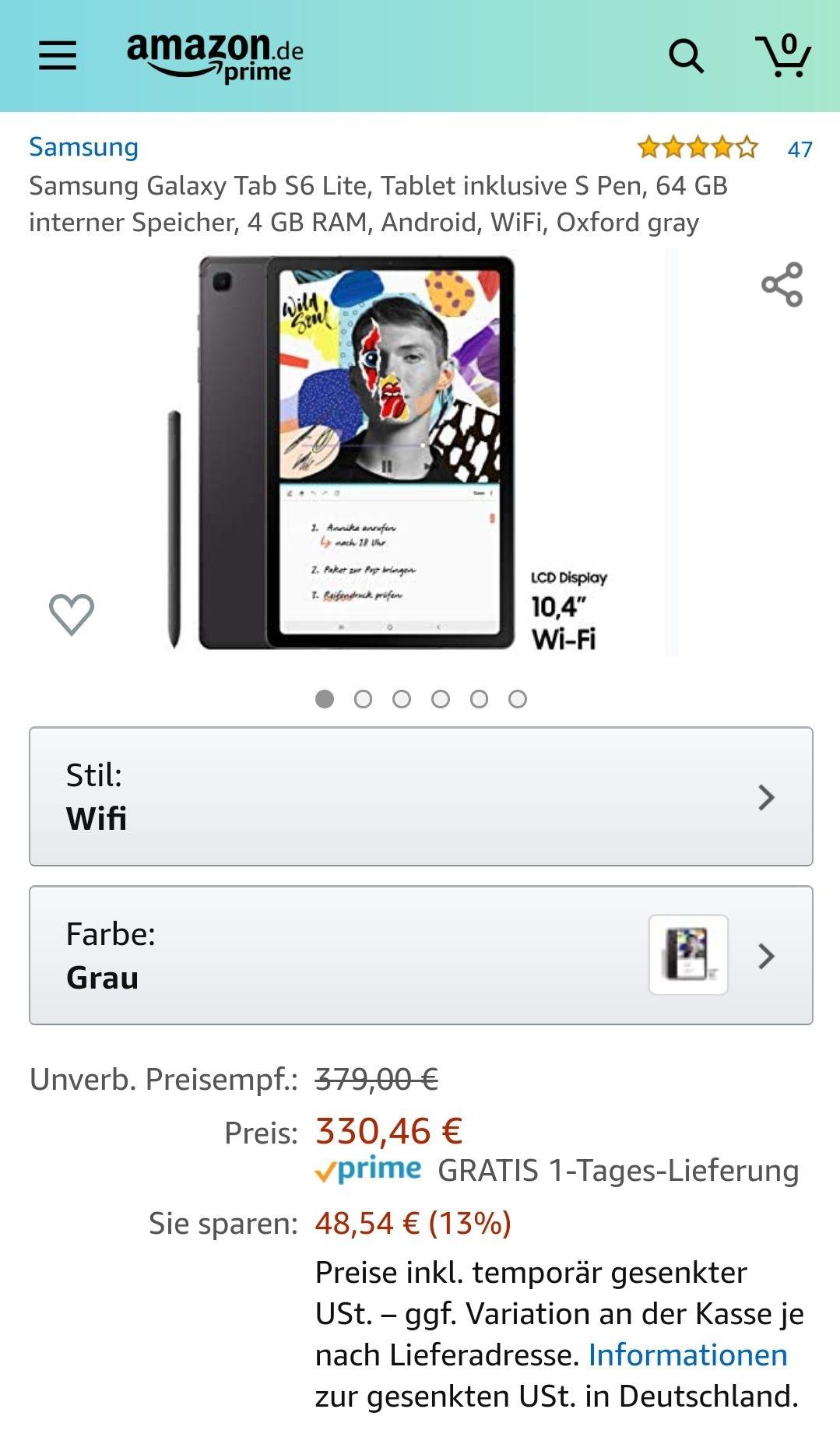 Samsung GalaxyTabS6Lite,Tablet inklusive S Pen, 64 GB interner Speicher, 4 GB RAM, Android, WiFi,