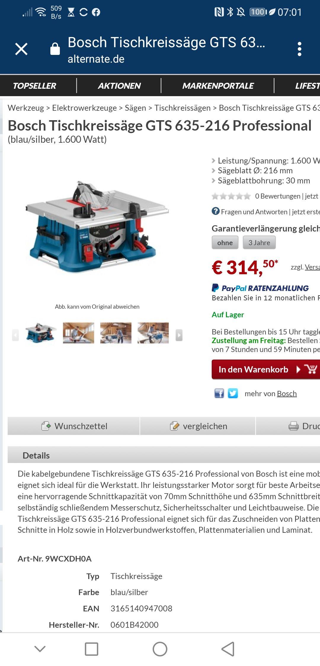 Bosch GTS 635-216 mit Bestpreis (lokal bei Hornbach)