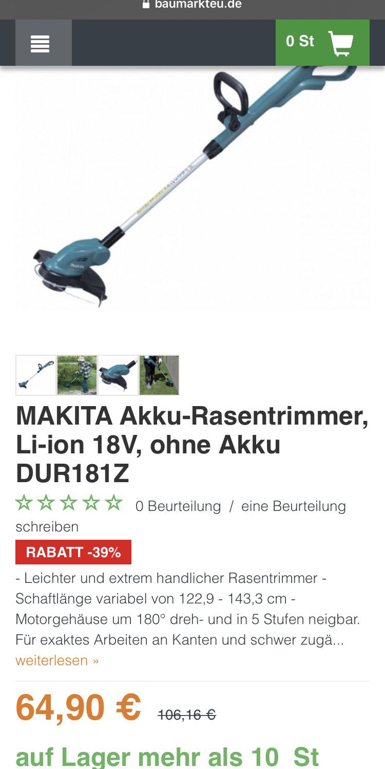 MAKITA Akku-Rasentrimmer, Li-ion 18V, ohne Akku DUR181Z
